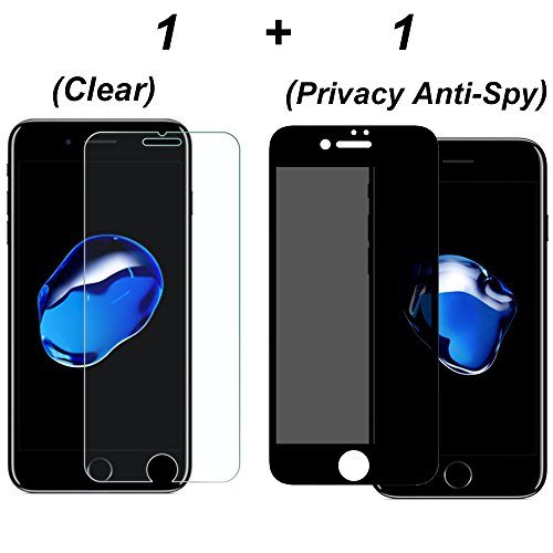 [2 Pack] Onemax iPhone 7 Plus Clear Screen Protector + Privacy Anti-Spy Screen Protector Tempered Glass 0.3mm 9H Hardness Anti-scratch Bubble-Free for iPhone 7 Plus