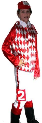 [Jockey Silks Costume Child Red & White] (Equestrian Costume Hat)