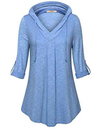 3/4 Sleeve Tunics Tops,Timeson Ladies Comfy V Neck Pleated Front Tunics Hoody Roll Up Sleeve Swing Pullover Shirts Plus Size Thin Sweatshirts for Casual Carbon Black XX-Large