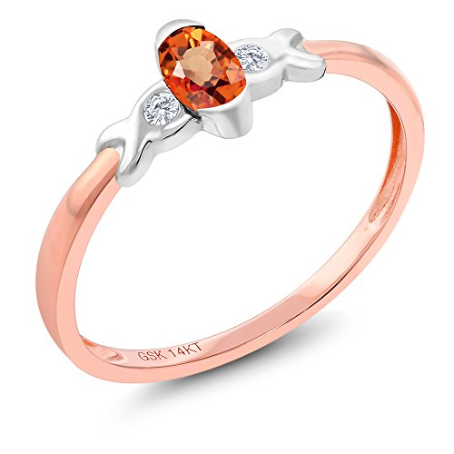 Tone Gold Sapphire 14k Two (14K Two Tone Gold 0.28 Ct Orange Sapphire and Diamond Engagement Ring)
