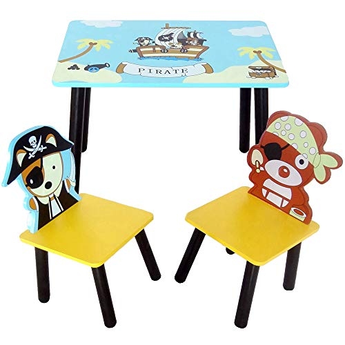 (Bebe Style Toddler Size Premium Wooden Table and Chairs Set Pirate Theme Easy Assembly Blue)