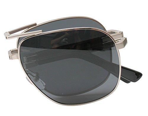 SOOLALA Limited Edition Metal Alloy Frame Folding Compact Pocket Aviator Sunglasses, ()