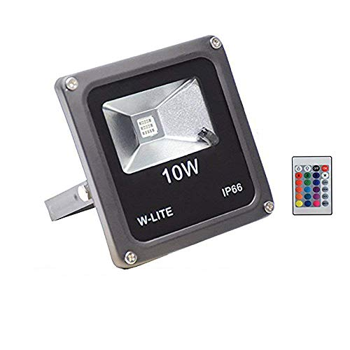 10W RGB Outdoor Color Change Floodlight with Remote Control,led Outdoor Flood Lights,Up Lights,Dimmable Wall Washer Light, for Yard Garden Tree Party Stage Pool Lights,Bow Fishing Light
