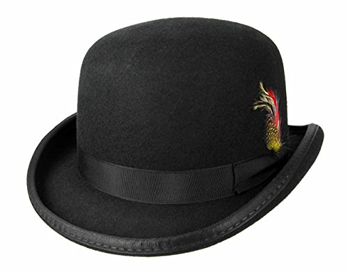 [Victorian Deep Crown Bowler Hat with Feather Black (Medium: 22.75 in. / 58 cm.)] (Pimp Hat With Feather)