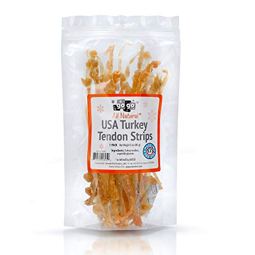 3oz GoGo Turkey Tendon Strips Dog Chew Treats Sourced and Made in The USA one Ingredient - The Original Turkey Chew