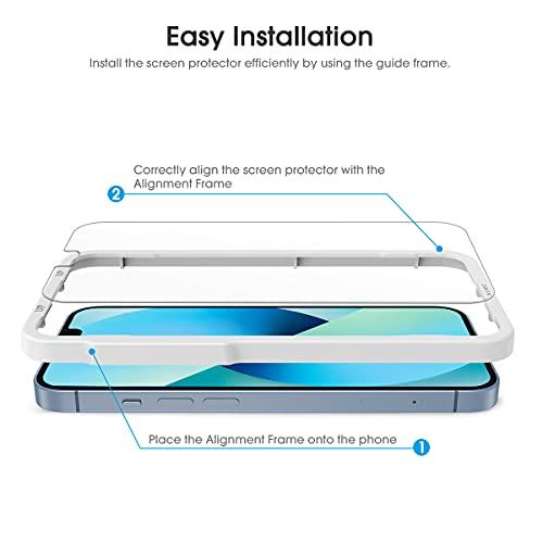 [4 Stück]OMOTON Panzerglasfolie kompatible mit iPhone 13/13 Pro Schutzfolie, 9H Härte,Anti-Kratzer, Anti-Öl,Anti-Bläschen,Hülle Freundllich,mit Positionierhilfe