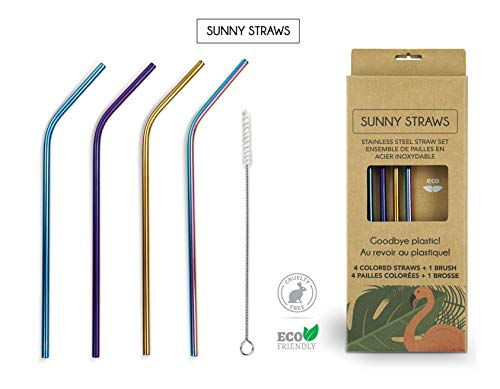 (Sunny Straws (4) Different Color Re-Usable Stainless Steel Straw Set including Cotton Brush)