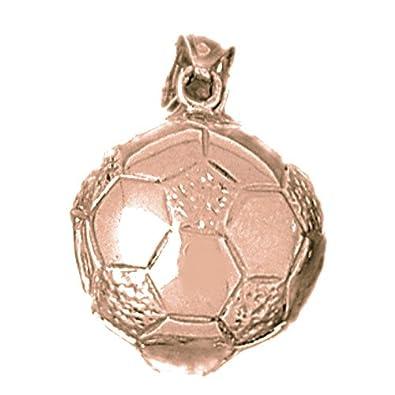 Oro rosa de 14 K 3-D Balón De Fútbol colgante - 24 mm: Amazon.es ...