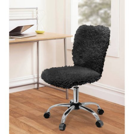 Fun and Stylish Faux Fur Task Chair with Adjustable Height Lever (Black)