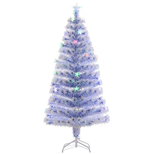 HomCom 5' Artificial Holiday Fiber Optic Light Up Christmas Tree - White