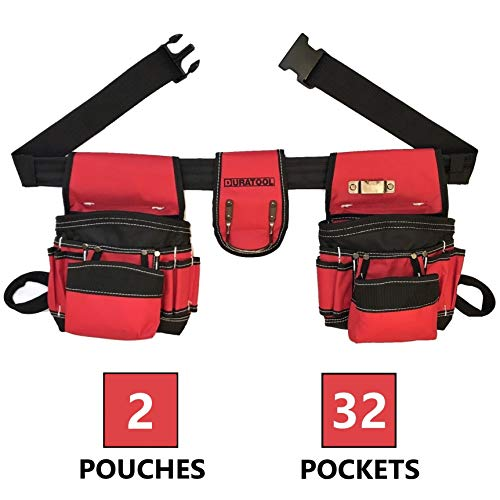 (DURATOOL Tool Belt Pouch with 32 Pockets 2 Pouches for Tools and Quick Release Buckle for Electrician Construction Carpenter Framers, Tool Pouch Tool Belts for Men & Women Small to X Large )