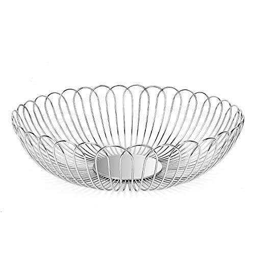 Fruit Basket Bowl Stainless Steel Fruit Storage Basket Wire Bowl for kitchen with Bread Vegetables LANEJOY