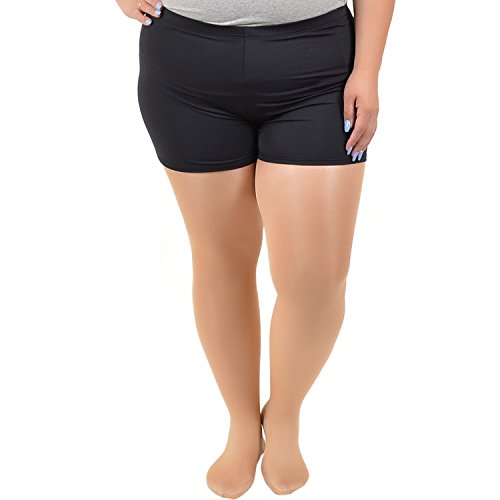 Stretch is Comfort Women's Plus Size Nylon Spandex Stretch Booty Shorts Black 3X Plus Size Spandex Shorts
