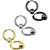 3 Pairs Surgical Stainless Steel Hoop Earrings with Bead Huggie Ear Cartilage Earring for Men Women (14mm)