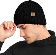 AMOVO Mens Winter Beanie Hat with Fleece Lined Knit Skull Cap for Cold Weather Cuffed Hat Head Warmer