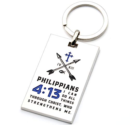 Philippians 4:13 Christian Keychain with Engraved Bible Verse - Prayer Protection Religious Gift for Christian Catholic Men Women (Blue) ()