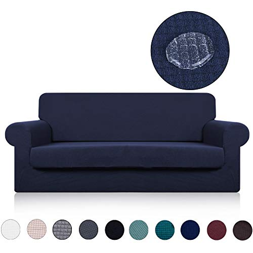 - Sofa Cover with Separate Seat Cushion Cover(2 Pieces Set) - Water Repellent,Knitted Jacquard,High Stretch - Living Room Couch Slipcover/Protector/Shield for Dog Cat Pets(3 Seater Sofa,Navy Blue)