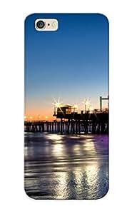 Fashion Elcnok-5726-rnmljju Case Cover Series For Iphone 6 Plus(santamonica Santa Monica Seascape Ocean Sea Nature Beaches Sand Waves Reflection Water Wet Foam )