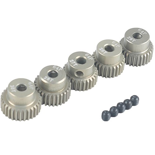 64p Pinion - RCRunning 64DP 3.175mm 26T 27T 28T 29T 30T Pinion Motor Gear Set with Screw for 1/10 RC Car Motor by