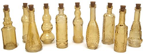 - Terra Home Vintage Glass Bottles with Corks, Assorted, 5 inch, Set of 10, Amber