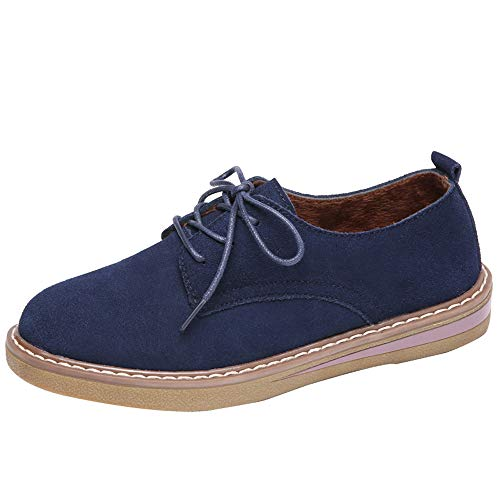 Londony Platform Oxford Shoes for Women, Girls College Shoes Casual Low Shoes Lace Up Shoe Boots Comfortable Flats Shoes Blue from Londony