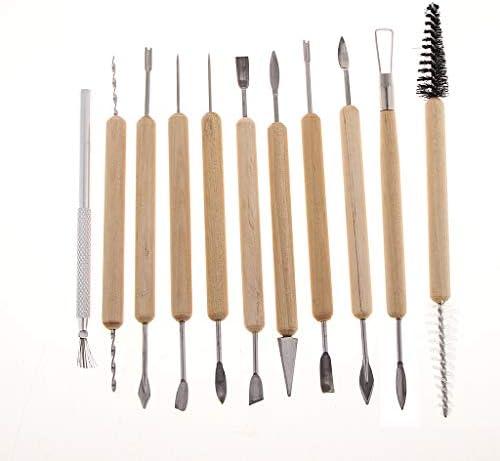 粘土道具 粘土彫刻 陶芸工具 粘土細工 スパチュラ 木のハンドル デザート作り 約21種類セット