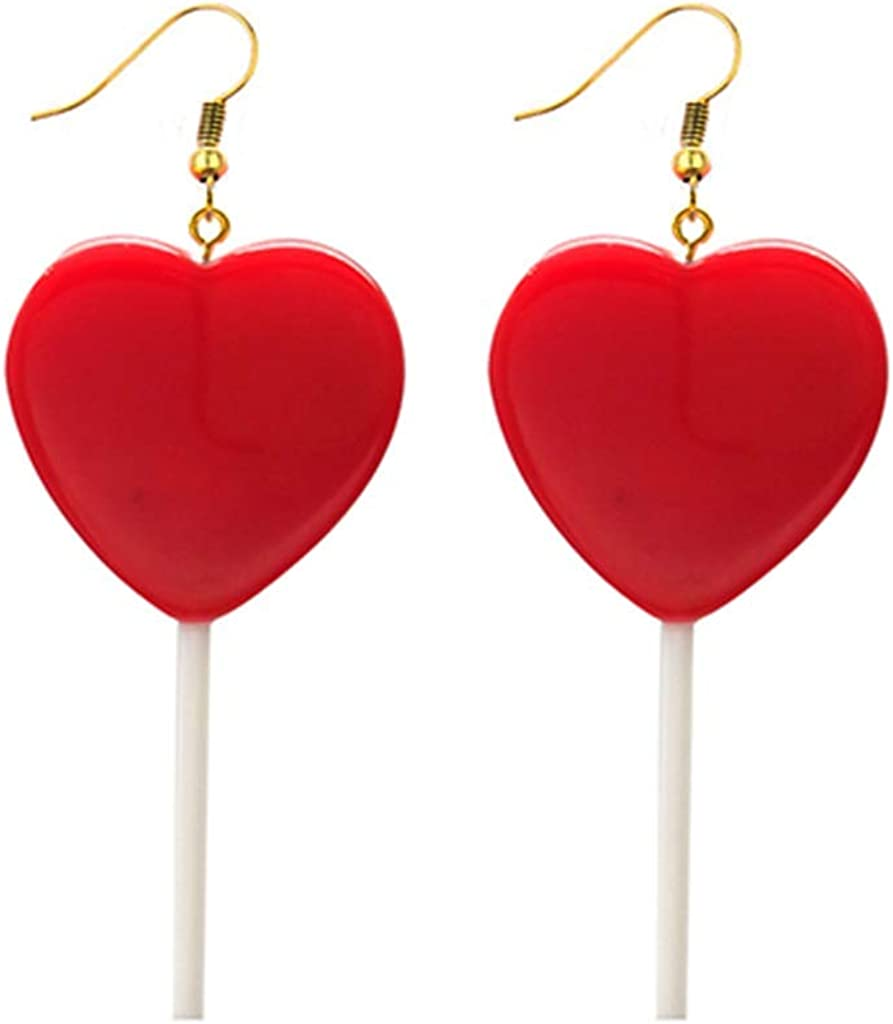 Cute Handmade Cartoon Lollipop Dangle Earrings Resin Heart-shaped Lollipop Drop Earring Funny Candy Color Simulation Food Earring for Women Girl Party Jewelry
