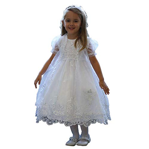 Angels Garment White Organza Overlay Baptism Dress Girls 3T from Angels Garment