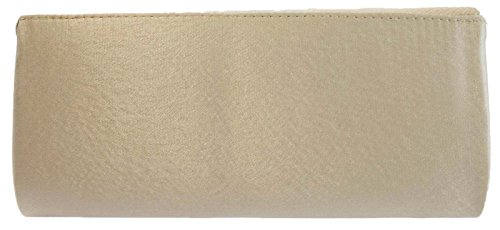 Diamante Womens Clutch Dora Bow Champagne Satin Ladies Party Bag Evening Prom Lora Wedding w56qPFF