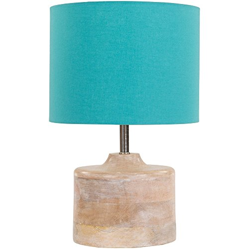 Wood Base and Cotton Shade Table Lamp, Blue and Natural Finish ()