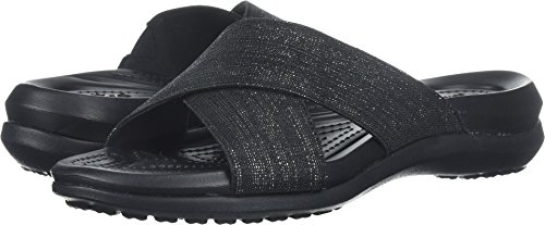 Womens Capri Sandal - Crocs Women's Capri Shimmer Cross-Band Sandal Slide Black, 4 M US