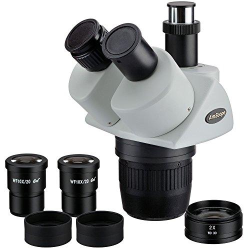 AmScope SW24TZ Trinocular Stereo Microscope Head, WH10x Eyepieces, 20X/40X/80X Magnification, 2X/4X Objective, Includes 2.0x Barlow Lens