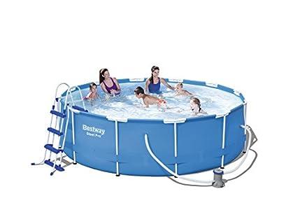 Bestway steel pro frame pool set mit filterpumpe frame for Gunstige poolsets