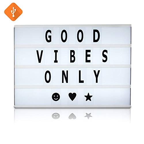 Battery and USB Cable Powered Cinematic Light Box, LED Light Box, Cinema Light Box, Letter Light Box with 4 Rows, 200 Letters, LED Lights and USB Cable, Size 16.5 x 11.4 x 2