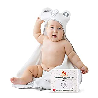 Premium Ultra Soft Organic Bamboo Baby Hooded Towel with Mouse – Super Absorbent Baby Towels for Infant and Toddler – Suitable as Baby Gifts
