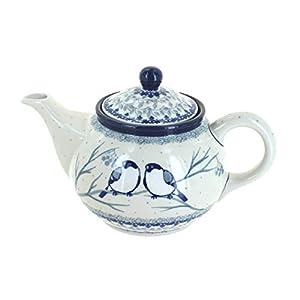 Blue Rose Polish Pottery Bluebird Small Teapot