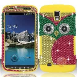 Full Diamond Design w/ Silicon Combo Cover compatible with Samsung Galaxy S4 ACTIVE i537 i9295, Owl FPDSC