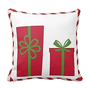 Home Decorative Red Candy Cane Christmas Gift Pillow Cover Cotton Pillowcase Cushion Cover 18 X 18