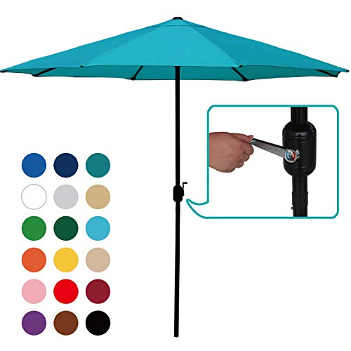 ABCCANOPY Commercial Event Market Aluminum Umbrella 9 FT Patio Umbrella Push Button Tilt Crank,Turquoise