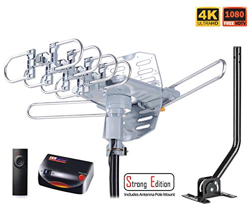 tenna Amplified Digital Outdoor Antenna with Mounting Pole & 40FT RG6 Coax Cable--150 Miles Range--360 Degree Rotation Wireless Remote--Snap-On Installation Support 2 TVs ()