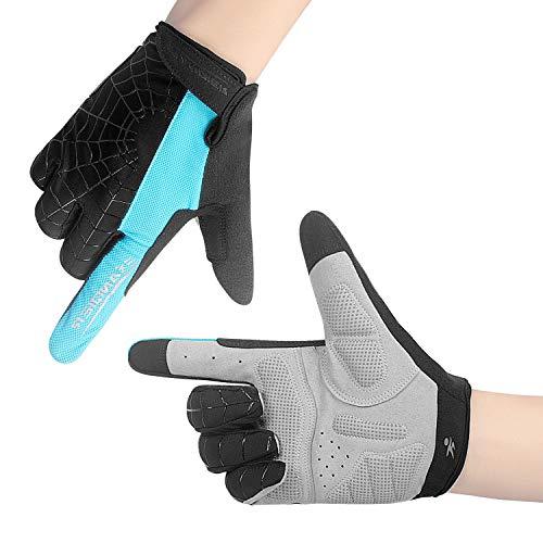 Lanyi Cycling Gloves Bike Gloves Mens Womens Touch Screen Full Finger Shock-Absorbing Pad Anti-Slip Biking Gloves Mountain Climbing Bicycle Gloves (Blue,M) ()