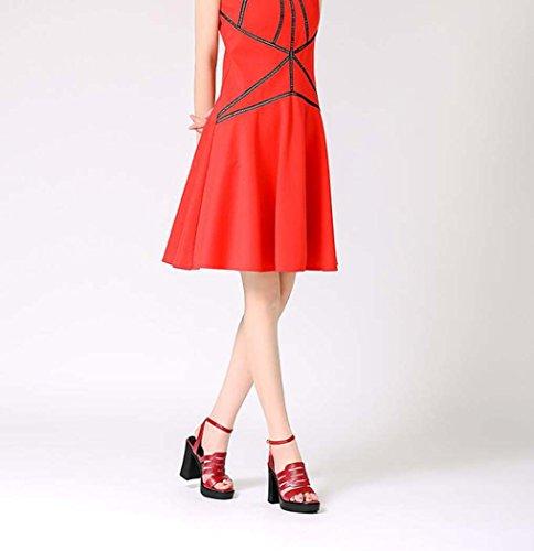 Rojo Tamaño Mujer Punta de con Talla Abierta Color Zapatos Alto para de Negro Rojo Tacón 36 Plataforma Sandalias 39 34 TwgUqxd