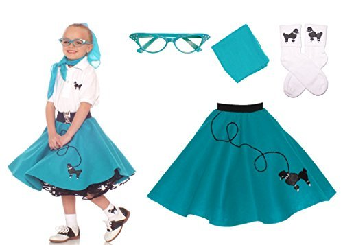 Hip Hop 50s Shop 4 Piece Child Poodle Skirt Costume Set, Size Medium Teal (50s Poodle Dress)