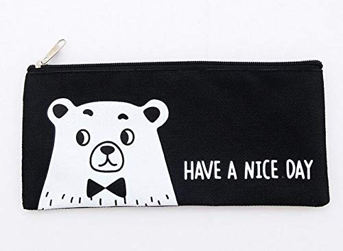 Nice Stationery - Cacys-Store - Creative Lion Bear Have A Nice Day Canvas Large Capacity Bag Stationery Storage Organizer Case Supply