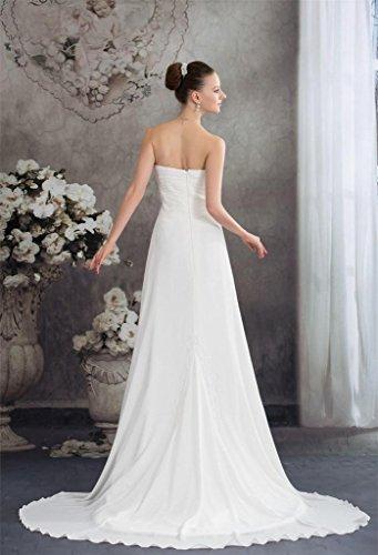 DZdress Women's Pleated Sleeveless Long Beach Bridal Wedding line A Ivory Beading Gown SSIrwTx