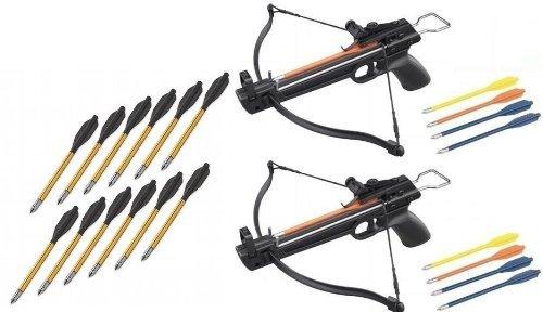 - 2 Pack 50 Lb Crossbow Gun Pistol Archery Crossbow w/ Arrows+12 Metal Tip Arrows