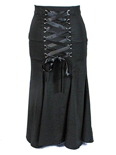 Plus Size Gothic Vampire Long Black Satin Ribbon Corset Fishtail Skirt (4X)
