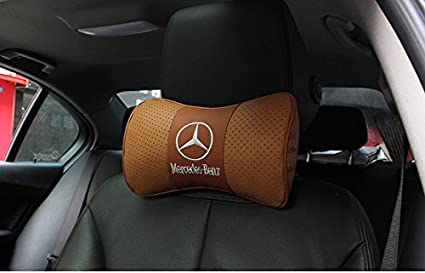 Firemans 1 PC Genuine Leather Memory Foam Car Seat Neck Rest Memory Foam Car Cushion Neck Support Pillow for Benz All Model W163 ML Class W220 S Class S430 S500 S600 Memory Foam Seat Headrest Cushion