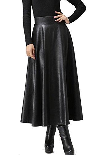 Zeagoo Women Winter Synthetic Leather High Waist Pleated Midi Flare Skirt Type 1 X-Large,Black,X-Large