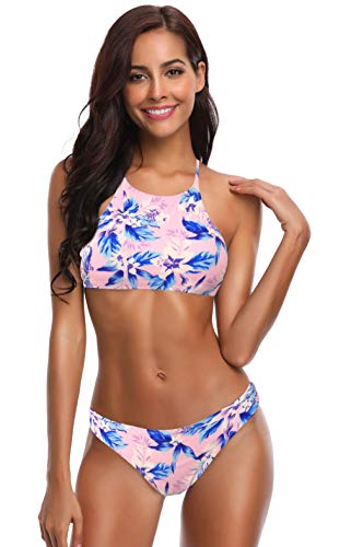 SHEKINI Womens Bathing Suits High Neck Stripe Printing String Bikini Two Piece Swimsuit (Printing-Pink, Medium)